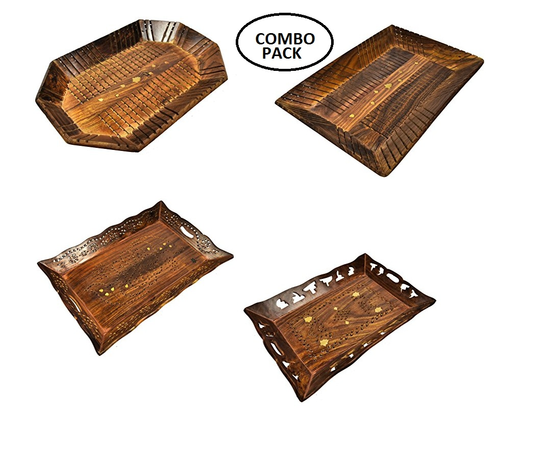 Combo Wooden Serving Tray | Serving Tray With Hand Carved | Kitchen ...